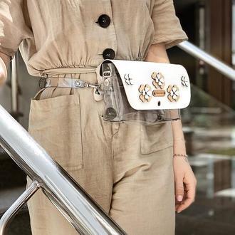 Стильная прозрачная сумочка FIGLIMON | белая