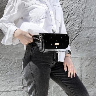 Стильная прозрачная сумочка FIGLIMON | черная
