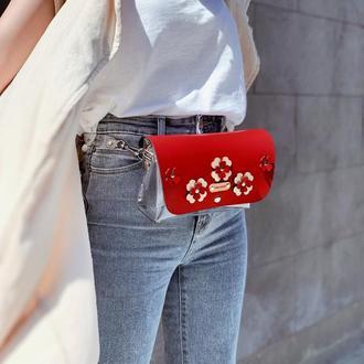Прозрачная поясная сумочка FIGLIMON | Красная