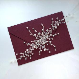 Свадебное украшение для волос, веточка в прическу, гілочка у зачіску, прикраса в зачіску