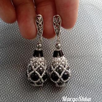 Розкішні сережки з перлами Сваровскі