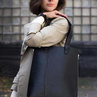 Черная кожаная сумка на подкладке и с внутренним органайзером