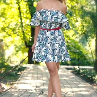 Платье Листья Монстеры