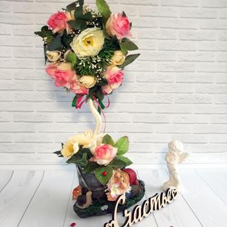 """Цветочный топиарий """"Нежные розы"""""""