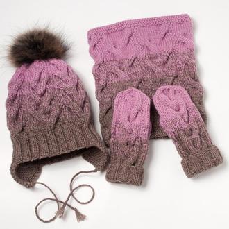 В`язаний дитячий комплект (шапка, снуд, рукавички) з градієнтом ручної роботи