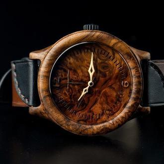 Деревянные наручные часы,  кожаный ремешок. Наручний годинник КАП ОРЕХ. Унісекс.
