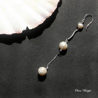 Серебряная серьга с жемчугом, моносерьги, моно сережки, сережка с жемчугом, подарок