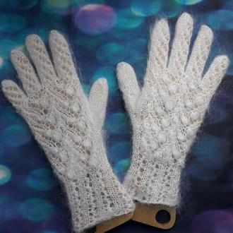 """Перчатки ажурные из белого козьего пуха """"Ландыши"""""""