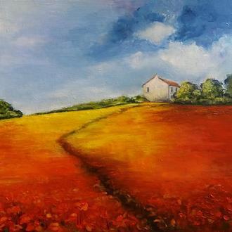 Картина маслом Сельский пейзаж