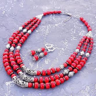 Комплект из натуральных кораллов, гематита ожерелье и серьги с серебряными застежками бусы коралл колье