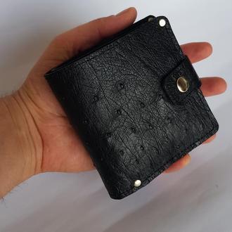 Компактное портмоне кошелек из кожи страуса