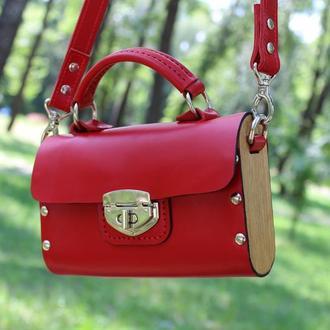 Жіноча дерев'яна сумка + шiкра
