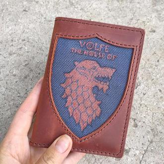 Обложки для паспорта Игры Престолов Старк кожаные с росписью и фамилией