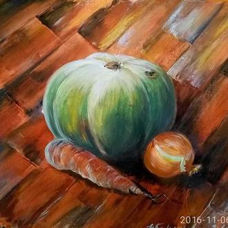Осенний натюрморт 50x60 см. Оригинальная живопись. Хлопок на картоне. Акрил. Лак.
