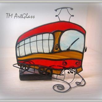 Статуетка Вітраж Скло Трамвай