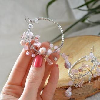 серьги с розовым кварцем и жемчугом ′Ветка сакуры′