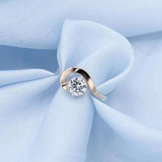 Серебряное кольцо Загадка с золотыми вставками