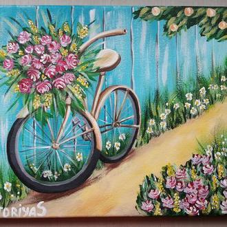 "Картина ""Велосипед с цветами"""
