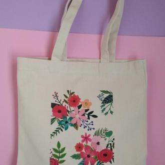 Эко-сумка Киев, экосумка цветы киев, шоппер цветы, екосумка квіти, авоська киев, подарок девушке