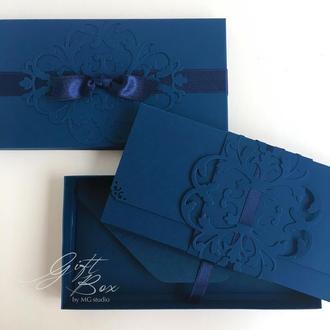 "GiftBox ""Pino"" (man) цвет 1 (синий)- открытка в коробочке"