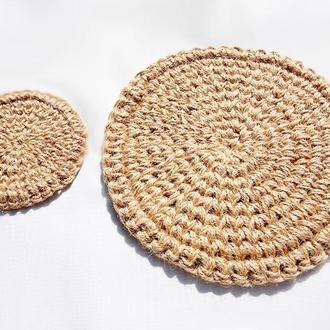 Мини коврики из джута Сервировочные салфетки из джута Подставки под горячее из джута