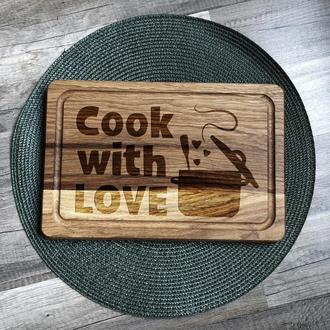 """Cook with love"" разделочная доска, доска для подачи из дуба"