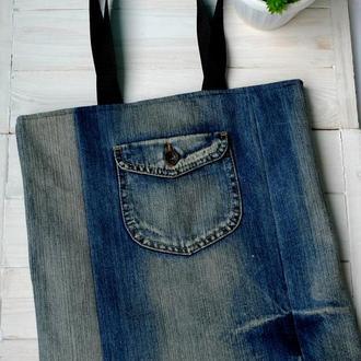 Джинсовая сумка для покупок, эко сумка, торба, пляжная сумка, сумка шоппер  01
