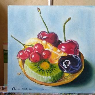 """Натюрморт маслом """"Тарталетка с фруктами"""" [30х30 см]"""
