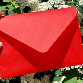 Свадебный конверт из кальки С6 красный мак