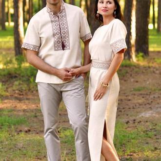 Вышитый комплект для пары - мужская рубашка и женское платье с коротким рукавом