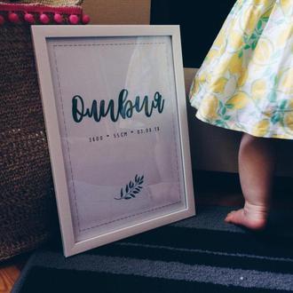 Детская метрика. Постер. Подарок на выписку.