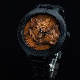WOLFS |  Морений дуб 400 років і Кап Горіха | Наручний дерев'яний годинник | наручные часы