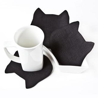 Подставки под чашки котики, Льняные подставки под горячее 4 шт. в наборе