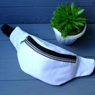 Сумка-бананка джинсовая белая , поясная сумка 32//Сумка-бананка джинсова біла, поясна сумка 32