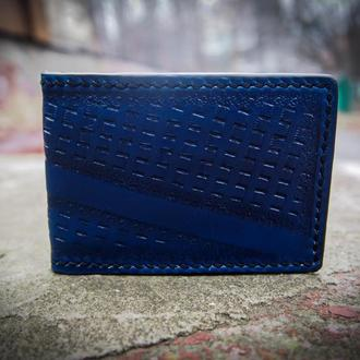Кожаная обложка на id паспорт Синяя