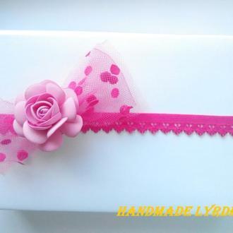 Повязка с бантиком и розой для малышки