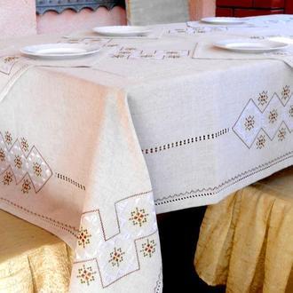 Вышитая льняная скатерть с салфетками (6-8 шт.)Кофейная