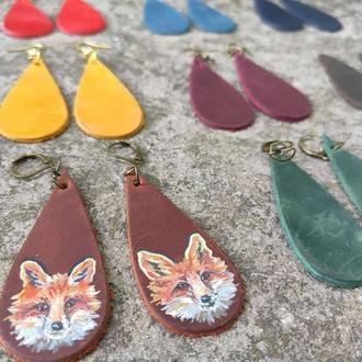 Кожаные серьги капли с росписью лиса рыжие