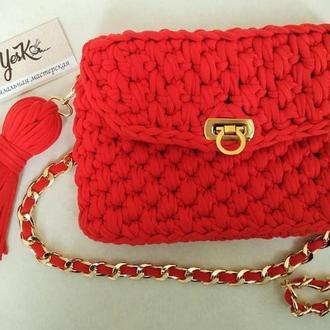 Женская вязанная сумка клатч