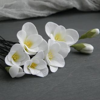Свадебные шпильки Фрезия набор 6шт, Цветы в прическу невесте