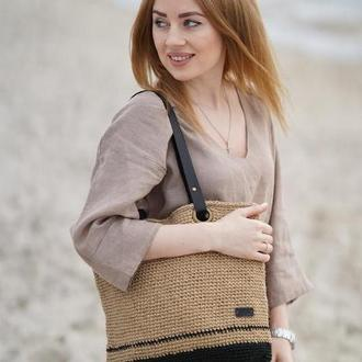 Стильная сумка шоппер вязаная из джута