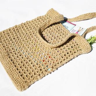 Сумка шоппер плетеная из джута 31х34
