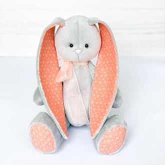 Плюшевий зайчик з оранжевими вушками