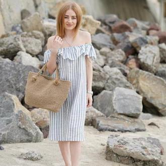 Пляжная вязаная сумка из джута