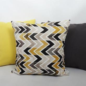Декоративная подушка - геометрия, осенний декор, декоративна подушка, подушка желтая, подарок Киев