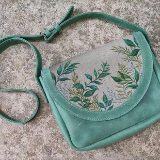 Кожаная зеленая сумка женская с листьями