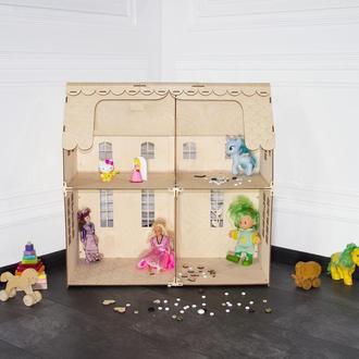 Деревянный домик для кукол на 4 комнаты (конструктор),без мебели. Код 004.03.02