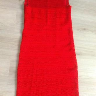 хлопковое вязанное крючком красное платье