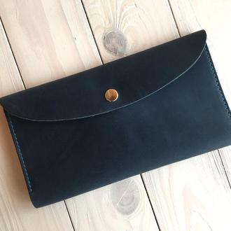 Кожаный женский кошелек  Goose™ G0015 голубой (портмоне, тревел-кейс)