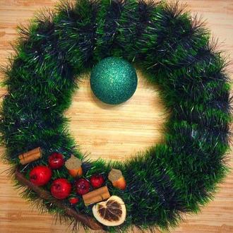новогодний венок на дверь, рождественский венок